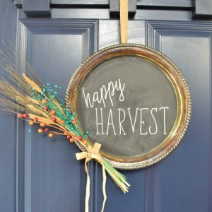 Chalkboard Silver Platter Fall Wreath