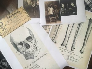 These vintage printables of skulls, bones, and skeletons are perfect for DIY Halloween decor projects!