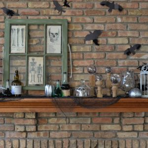 Vintage Apothecary Halloween Mantel (with Thrift and Dollar Store Items)