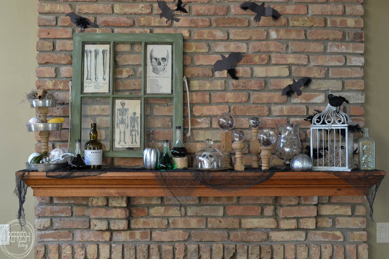 vintage apothecary halloween mantel with thrift and dollar store items refresh living - Spooky Halloween Store