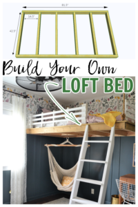 This DIY loft bed is an easy to build bunk bed that hangs from the wall and ceiling. Full tutorial and plans on how to build a loft bed for a kids bedroom.
