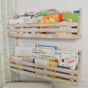 Look at how many books these shelves hold! I love how they don't take up floor space and look easy to build.