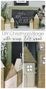 Just drill some holes in scrap wood, stick lights inside each hole, and you have a Christmas village!