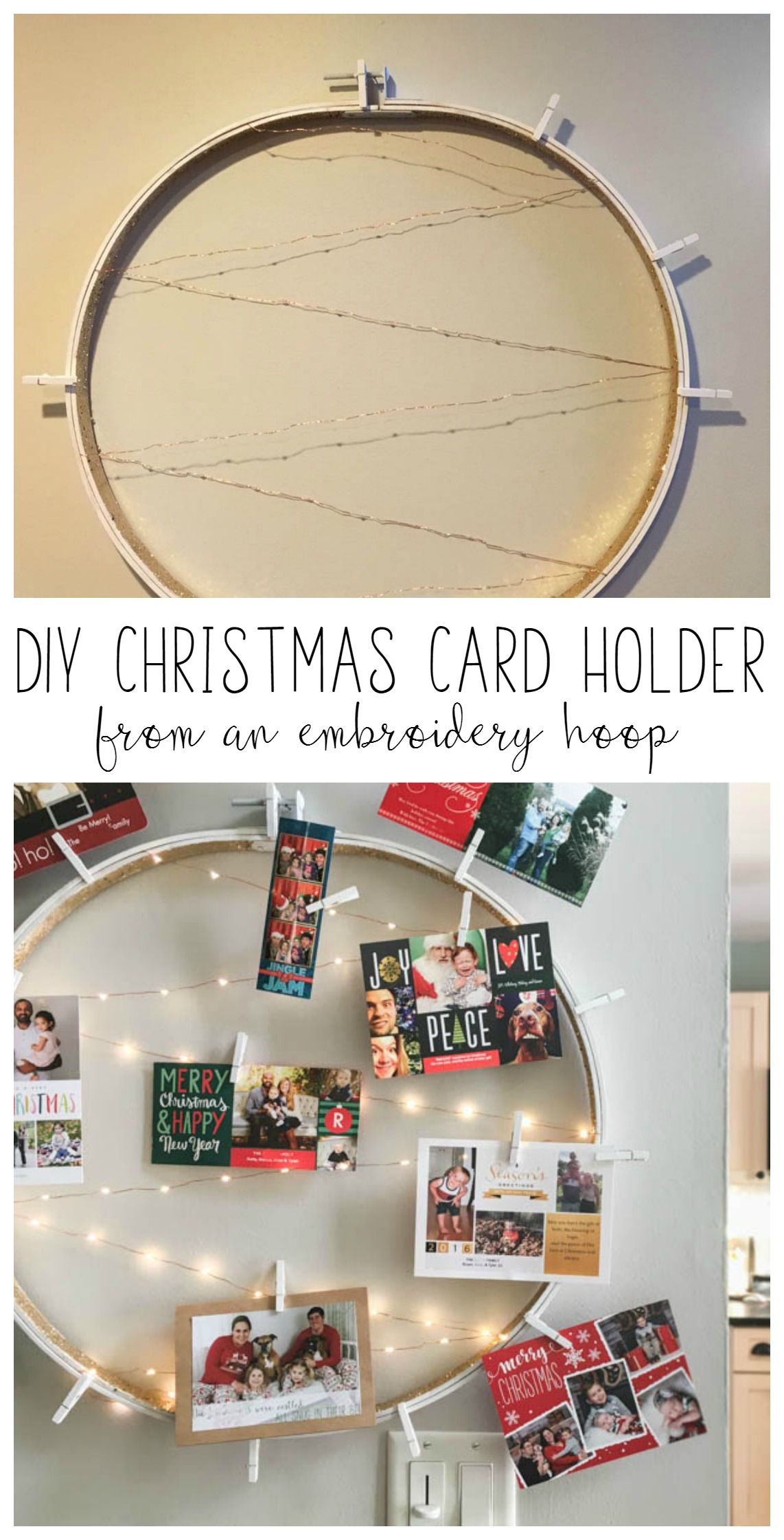 easy DIY Christmas card holder with lights from an embroidery hoop ...