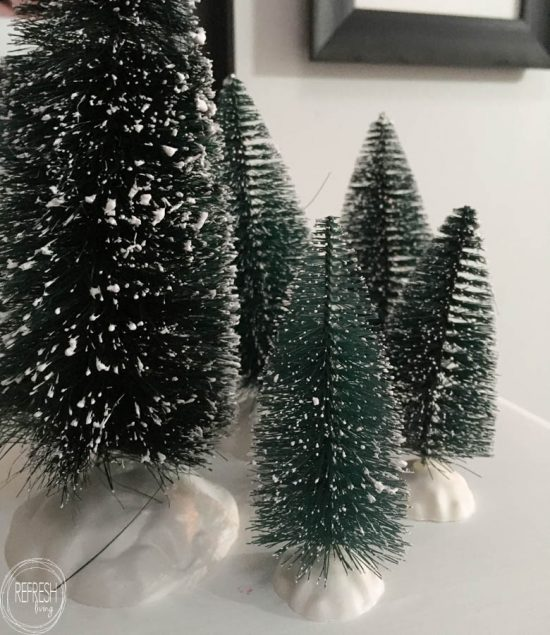 This post has tons of ideas on how to use bottle brush trees in Christmas decor!