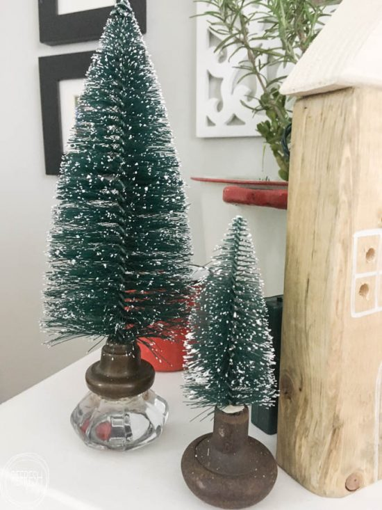 what a great way to display bottle brush trees instead of those ugly plastic bases - Bottle Brush Christmas Trees