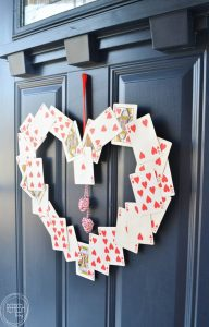 What an easy wreath for Valentine's Day! Now I know not to throw away incomplete decks - I can save the heart cards for this!!