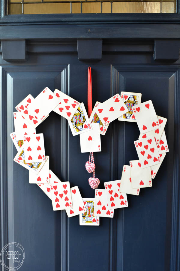 DIY Valentine's Wreath (from old playing cards!)