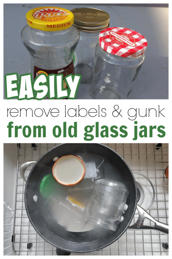 Such an easy way to remove labels and glue from glass food jars. Step by step how to remove labels from glass jars with supplies you already have at home.