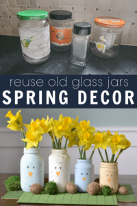 Upcycled glass food jars for DIY Spring decorations. Chalk paint on glass jars that can be washed in the dishwasher.