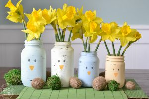 What a great way to reuse old glass food jars! I suppose you could paint other animal faces on these, or just leave them as spring colors, too. Such an easy DIY spring decoration for Easter!