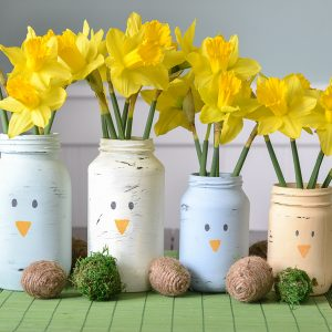 DIY Spring Centerpiece from Old Glass Jars