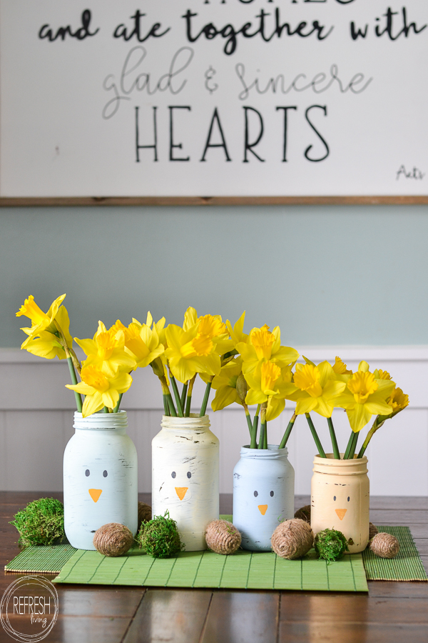 Reused Glass Jars As Spring Easter Decorations 5 Refresh Living