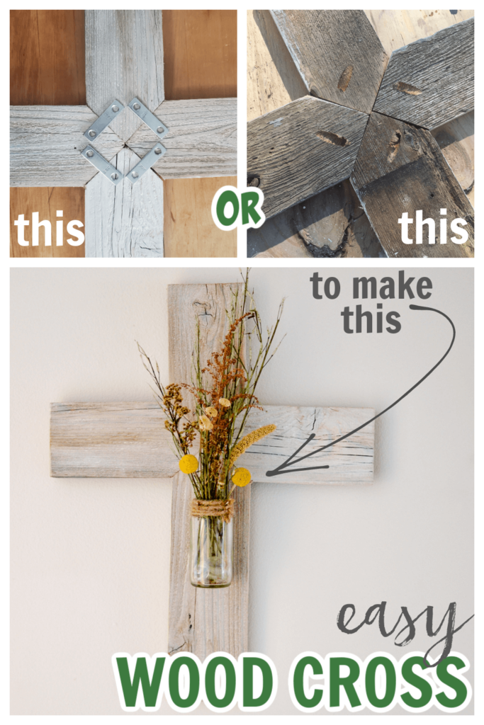 This DIY wood cross is made from an old fence picket and glass food jar. Such an easy project to decorate your home.