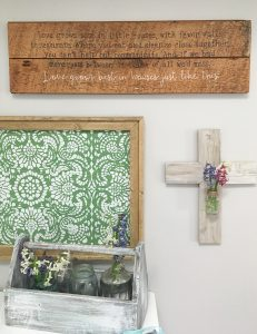I love this sign for my little house. It looks great in this farmhouse gallery wall!