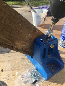 A Kreg Jig makes it easy to make a wood cross from old barn wood.