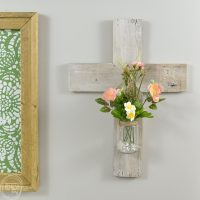 This is a great way to use up scrap wood and old glass jars. This post gives directions on how to make a wood cross using reclaimed wood or barn wood.