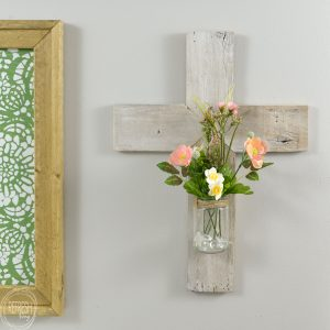 Rustic Whitewashed Wooden Cross