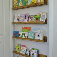 What a great use of unused space behind a door! Add book ledges to store books or small toys.