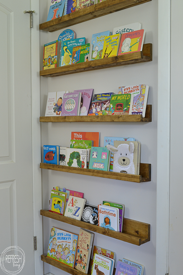 diy book ledges easy and inexpensive organization. Black Bedroom Furniture Sets. Home Design Ideas