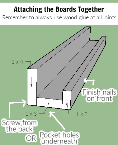 These DIY book ledges are easy to build with basic lumber from the hardware store. They work great as DIY picture frame ledges as well!
