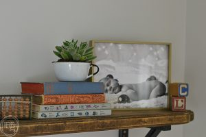Vintage accessories used to decorate a vintage classroom themed nursery.