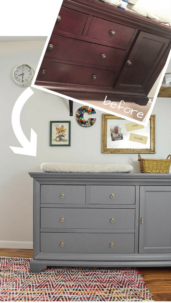 I love the gray dresser with the brass pulls. This dresser started as a dark cherry wood color; it looks so much better now.