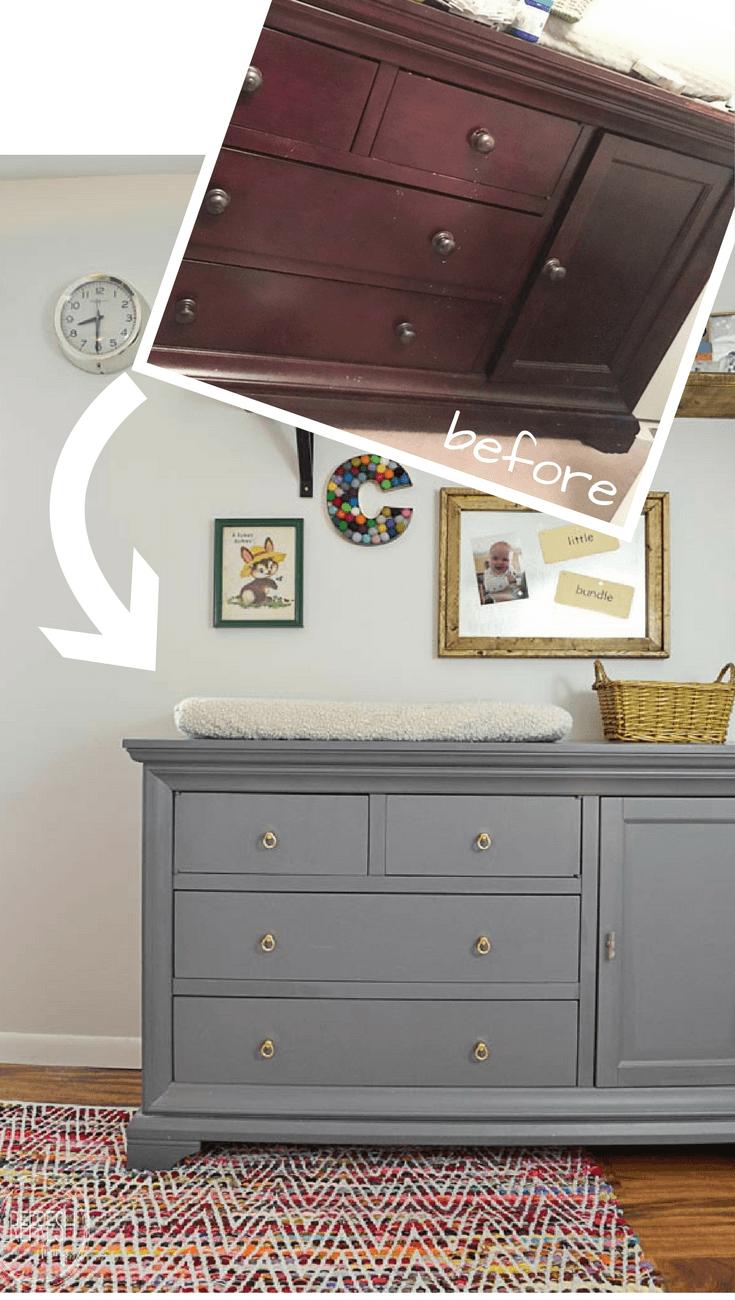 gray painted dresser