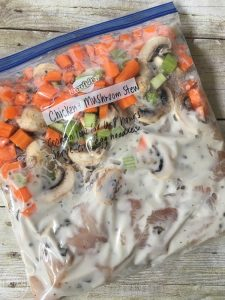 This Chicken and Mushroom Stew crock pot recipe is easy and delicious. It can even be frozen for a busy weeknight.