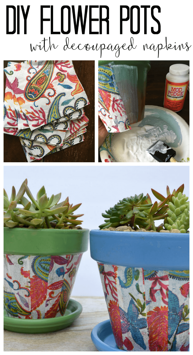 Decorated Terracotta Pots With Decoupaged Napkins Refresh Living