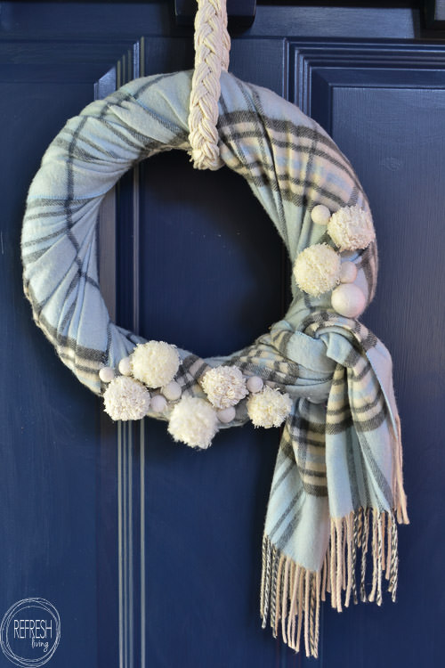 Reuse an old scarf and make it into a winter wreath that can stay up well past Christmas! DIY wreath via Refresh Living