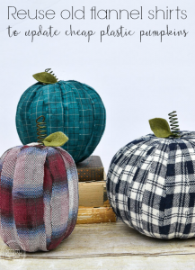 Well this is an easy way to update those cheap pumpkins! Plus, you can choose the fabric to match your decor.