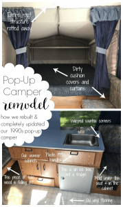 This pop up camper looks completely different now! It's amazing how changing out the fabric, counters, and paint color can totally change the look of a camper.