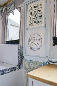 What a cool idea to update a door of a camper. I love the parks and recreation symbols of all the fun things to do while camping. Pop up camper remodel with an eclectic vintage boho feel via Refresh Living.