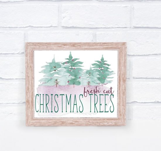 What a a pretty fresh cut Christmas trees sign, and best of all, it's free!
