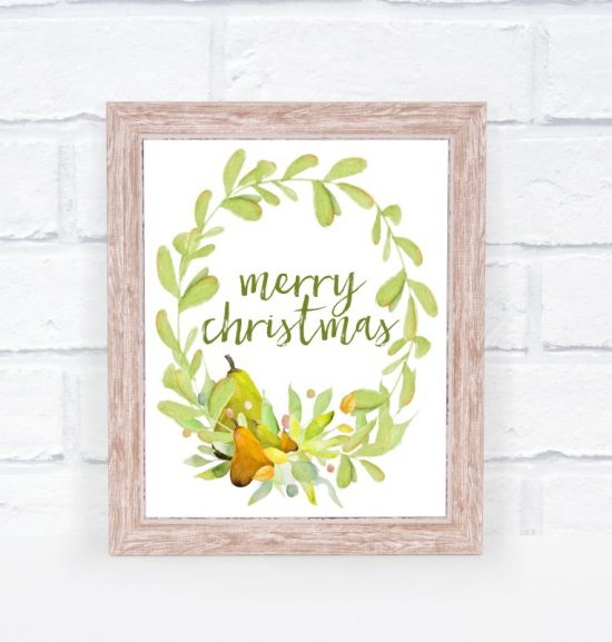 This free watercolor Christmas printable can be added to a frame as art.