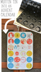 This DIY advent calendar is upcycled from an old muffin pan. Magnetic cut outs cover the holes and are easy to remove. Plus, there is a free printable for the numbered circles!