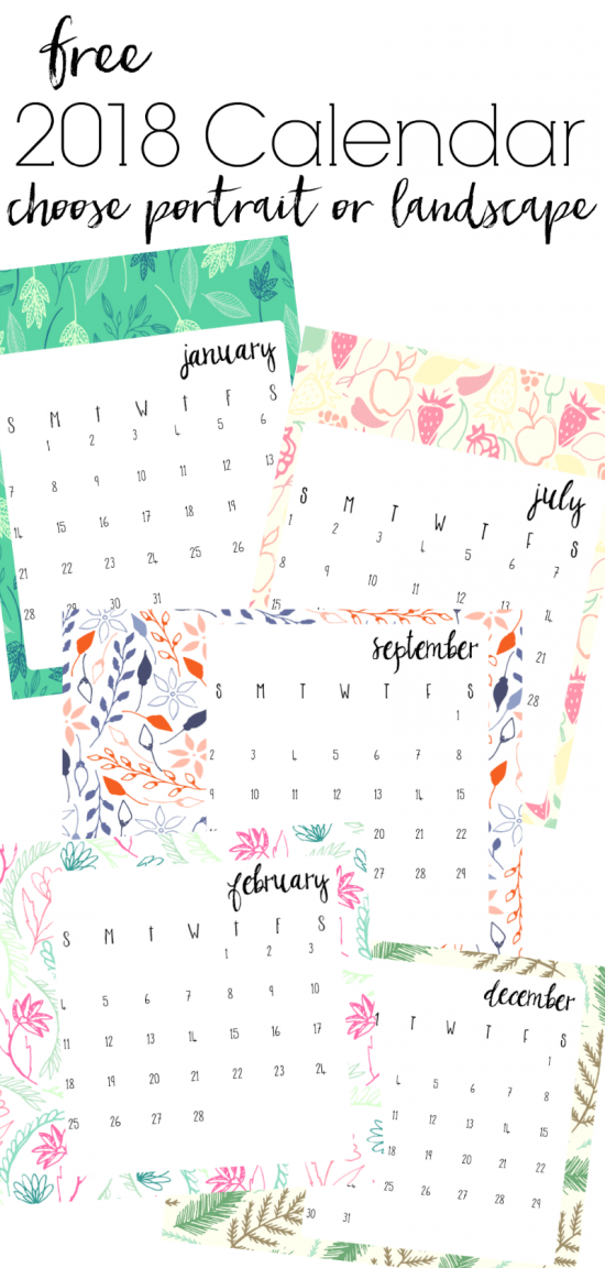 I'll never buy a calendar again! There are so many free printable calendars available now that are so pretty. This 2018 free calendar has a different sketch for each month, and can be downloaded and printed in both landscape and portrait. Free 2018 calendars via Refresh Living.