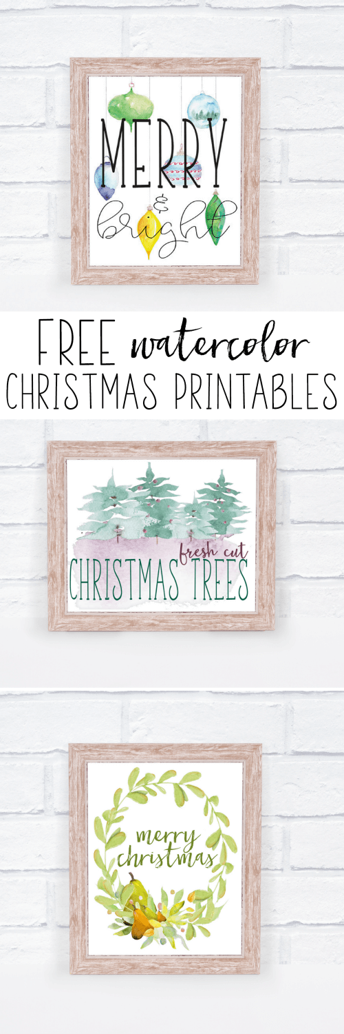 Free Christmas printables with watercolor images. A great way to decorate your home for the holidays without spending any money. Just put the printed image in a frame or on a clipboard and display!