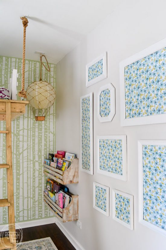 This is definitely what I need! I'm too afraid of commitment to put up wallpaper, so this is the perfect alternative. Use thrift store and second hand picture frames to create a gallery wall with wallpaper or patterned paper from Refresh Living.