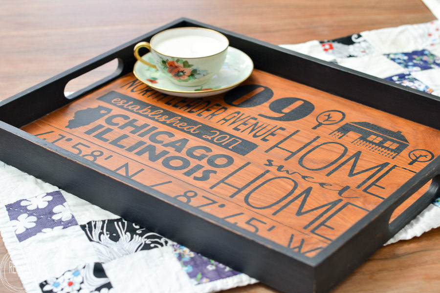 What a great gift for a new homeowner! This wooden tray from the thrift store has been upcycled with a personalized home address graphic. DIY custom home address sign for the new homeowner from an old wooden tray via Refresh Living.