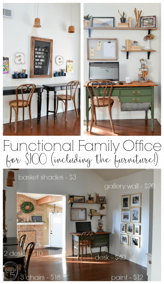 This room is proof that you can decorate on a budget while still bringing in beautiful pieces of furniture. Three desks for under $60? Genius idea on how to create desks for kids.