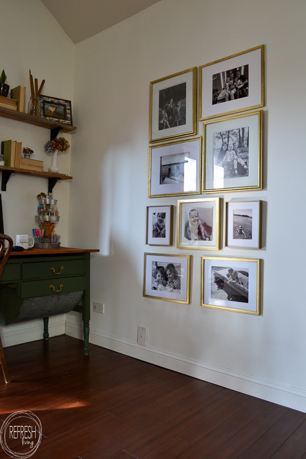 gold gallery wall made from thrift store and second hand frames and ...