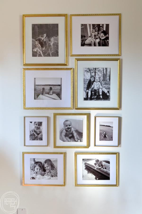 Gold Gallery Wall Made From Thrift Store And Second Hand Frames And