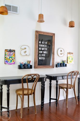 Take an old table and cut off the ends to make wall desks - such a great idea! These would be perfect for kids without taking up much room in the house. Vintage table turned into desks via Refresh Living.