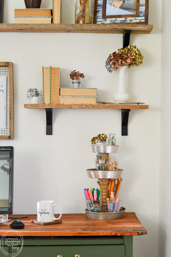 An Office Filled With Vintage Finds Repurposed Into Functional Decor. Modern  Office With Vintage Boho