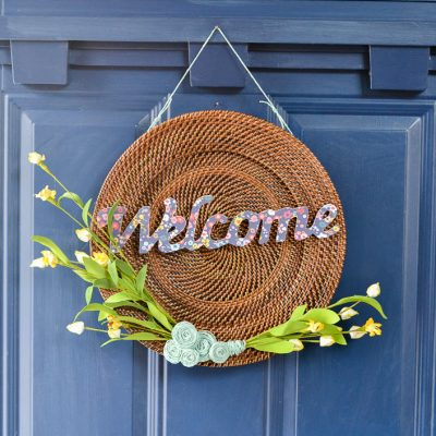 Modern DIY Spring Wreath from an Old Plate Charger