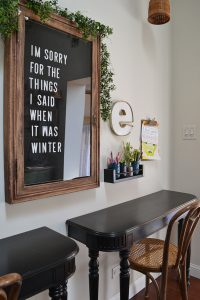 Vintage letterboard in a home office with desks for the kids. Spring home tour with upcycled and vintage finds.