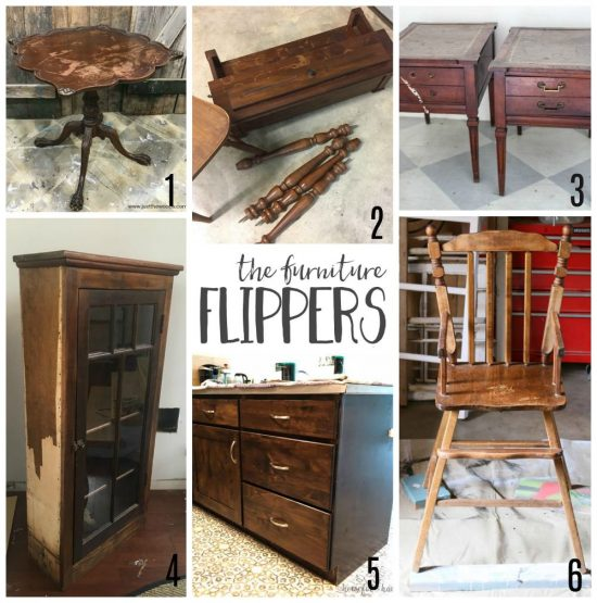 The furniture flippers image with collage of 6 wood pieces prior to refinishing.