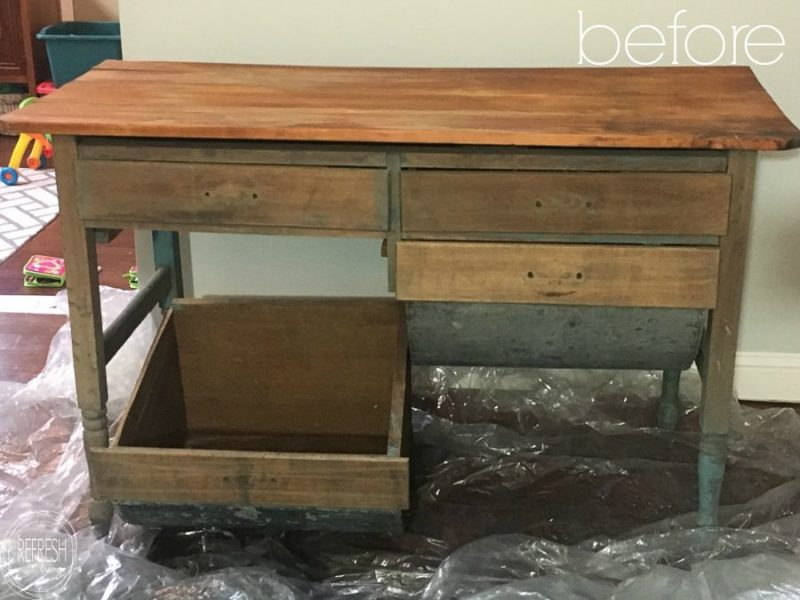I can't believe how this old baker's table was reused. Such a creative - Green Desk From An Antique Baker's Cabinet - Refresh Living